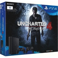 PS4 Slim 1TB + Uncharted 4: A Thief's End + 2x DualShock 4 Wireless Controller (Bundle)
